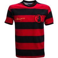 Camisa Liga Retrô Sicupira 1970 - Masculino-Vermelho+Preto