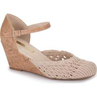 Sapato Anabela Feminino Moleca - Marfim