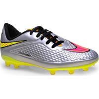 Chuteira Masc Infantil Nike 677589-069 Jr Hypervenom Phelon Prem Fg Prata/Pink/Limao