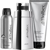 Combo Malbec Magnetic: Des. Colônia + Desodorante Aerosol + Shower Gel Cabelo E Corpo