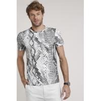 Camiseta Masculina Slim Fit Estampada Animal Print Cobra Manga Curta Gola Careca Off White