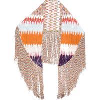Missoni Echarpe Aztec Com Padronagem E Franjas - Laranja