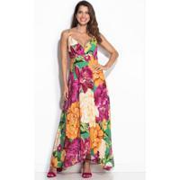 Vestido Midi Outono De Chita Rosa