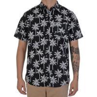 Camisa Polo Manga Curta Hurley Palms Masculina - Masculino-Preto