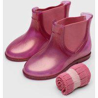 Bota Chelsea Pimpolho Infantil Glitter Rosa