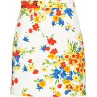 Miu Miu Floral Mini Skirt - White