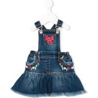 Monnalisa Jardineira Jeans Com Babado - Azul