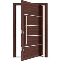 Porta Pivotante De Alumínio Com Frisos E Puxador Cerejeira Abertura Esquerda 221X127X11,5Cm - 3705 - Vitrolar - Vitrolar
