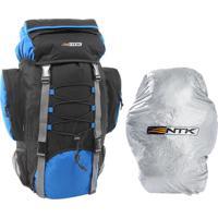 Mochila Cargueira Trekking 60 Litros Preto E Azul Com Capa De Proteção - Nautika Intruder