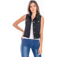 Colete Sisal Jeans Slim Fit Preto