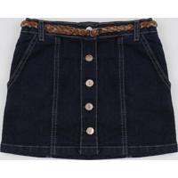 Saia Jeans Infantil Curta Com Botões + Cinto Azul Escuro