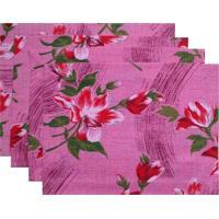 Kit Jogo Americano Novitá Decor Linhão Floral Pink