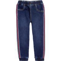 Calça Jeans Infantil Menino Em Moletom Com Listra Lateral Hering Kids