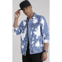 Jaqueta Jeans Trucker Com Algodão + Sustentável Azul Médio