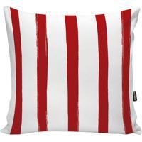 Capa De Almofada Stripes- Branca & Vermelha- 45X45Cmstm Home