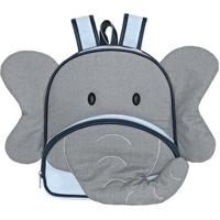 Mochila Kids Elefante- Cinza & Azul Claro- 34X40X7Cmbatistela