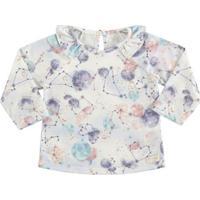 Blusa Geomã©Trico Com Babado- Lilã¡S & Azul Clarocharpey