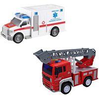 Kit Caminhão Bombeiro E Ambulância De Brinquedo Infantil Carrinho À Fricção Som E Luzes Branco Dm