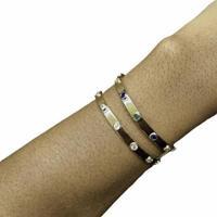 Bracelete Semijoia Zirconia, Folheado E Regulável - Feminino-Incolor
