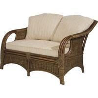 Sofa Utica 2 Lugares Assento Cor Bege Com Base Madeira Apui Revestido Em Junco - 44779 - Sun House