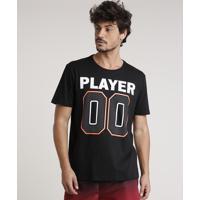 "Camiseta Masculina Esportiva Ace ""Player 00"" Manga Curta Gola Careca Preta"