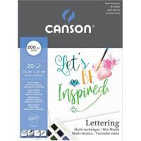 Bloco Artístico A4 Canson Multi Técnicas Lettering 200G Com 20 Folhas