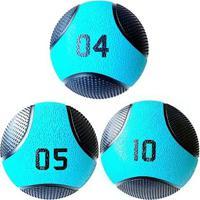 Kit 3 Medicine Ball Liveup Pro 4 5 E 10 Kg Bola De Peso Treino Funcional - Unissex
