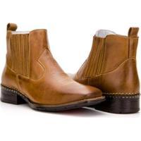 Bota Texana Country Capelli Boots Em Couro Cano Curto Masculina - Masculino-Marrom Claro