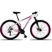 Bicicleta Dropp Aro 29 Freio A Disco Mecânico Quadro 21 Alumínio 21 Marchas Branco Rosa