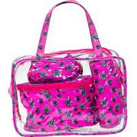 Kit Necessaire Grande Real Arte Floral Rosa - Rosa - Feminino - Dafiti