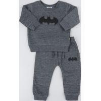 Conjunto Infantil Batman De Blusão + Calça Em Moletom Cinza Mescla Escuro