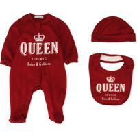 Dolce & Gabbana Kids Conjunto 3 Peças Com Macacão, Gorro E Babador Com Estampa Queen - Vermelho