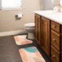 Jogo Tapetes Para Banheiro 2 Peças Rainbow Minimalist Único