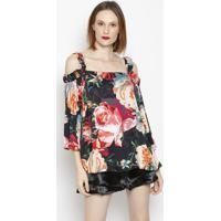 Blusa Floral Com Recortes - Preta & Verde - Ahaaha