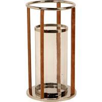 Lanterna Decorativa De Aço Inox Farol De Alexandria Grande Com Detalhes De Couro