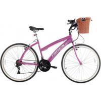 Bicicleta Track E Bikes Confort Fast 100 - Aro 26 - Freios V-Brake - 21 Marchas - Feminina - Rosa Escuro