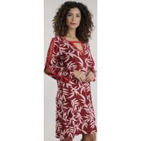 Vestido Estampado De Folhagem Com Recortes Vermelho