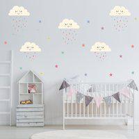 Adesivo De Parede Infantil Nuvens Chuva De Amor Colorido