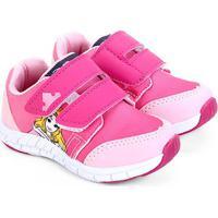 Tênis Infantil Disney Velcro Bela Adormecida Feminino - Feminino-Amarelo+Rosa