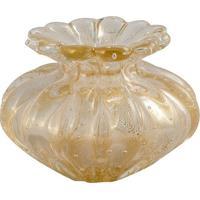 Vaso De Murano Transparente Com Ouro Colfosco