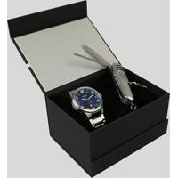 Kit De Relógio Analógico Orient Masculino + Canivete - Mbss1298-Kd19D2Sx Prateado - Único