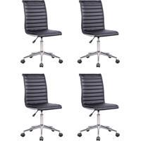 Conjunto Com 4 Cadeiras De Escritório Diretor Giratória Marilyn Plus Preto