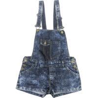 Jardineira Look Jeans Marmorizado Jeans Azul