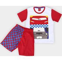 Pijama Infantil Lupo Disney Km Carros M.C. Masculino - Masculino-Branco