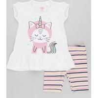 Conjunto Infantil De Blusa Gato Unicórnio Com Babado Manga Curta Off White + Bermuda Listrada Rosa Claro