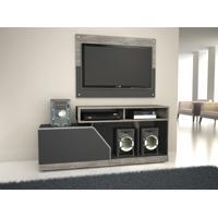 """Rack Com Painel Para Tv Até 40"""" Facility Cinza / Preto - Caemmun"""