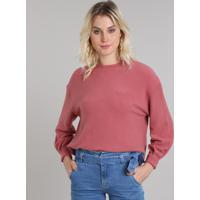 Blusão Feminino Em Fleece Decote Redondo Rosa Escuro