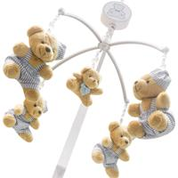 Móbile Musical Urso Com 4 Enoy Azul Bebê