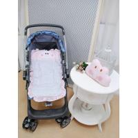 Capa De Carrinho De Bebê Nuvem Rosa Com Almofada - 2 Peças