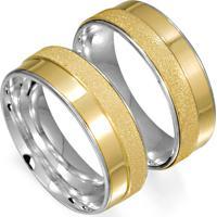 Aliança De Ouro Com Gravação Externa E Diamante - As0412